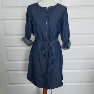 Loft Chambray Button Down Shirt Dress